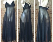REAERVED for Heather Naylor Vintage 50s/60s Sheer Chiffon Nightgown / Fredrick's of Hollywood Style Long Full Peignoir / Sexy Honeymoon Negl