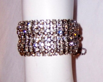 "Clear Rhinestone Bracelet with Safety Chain by ""Weiss"""