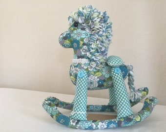 Stuffed Rocking Horse - Teal, Grey and Chartreuse