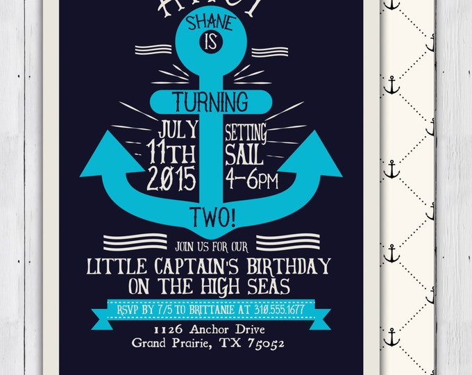 Nautical birthday Invitation - Ahoy, anchor, Sailboat Invitation-Nautical Preppy Invitation-Nautical Invite- ocean, girl and boy twins