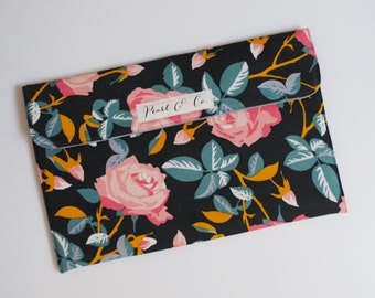 Diaper Clutch - Gray Curduroy with Pink Floral Roses & Teal Leaves - Diaper and Wipes Case - Diaper Wallet -Gender Neutral Diaper Pouch