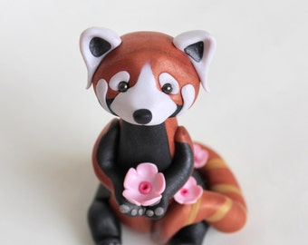 Red Panda cake topper, ornament, keepsake, birthday personalised polymer clay cake topper with name