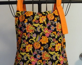Orange Flowered Handmade Apron \\ Vibrant Orange and Black Apron