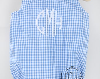 Monogrammed Gingham Baby Bubble Romper, Circle Block Monogram baby bubble romper, Summer/Spring Baby Bubble Romper