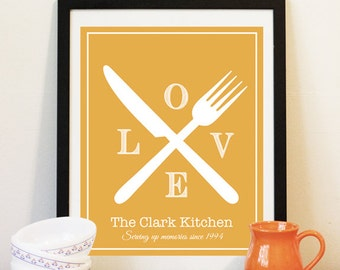 Kitchen Cutlery Print - Personalized Kitchen Art - Family Name Art Print - Love Print