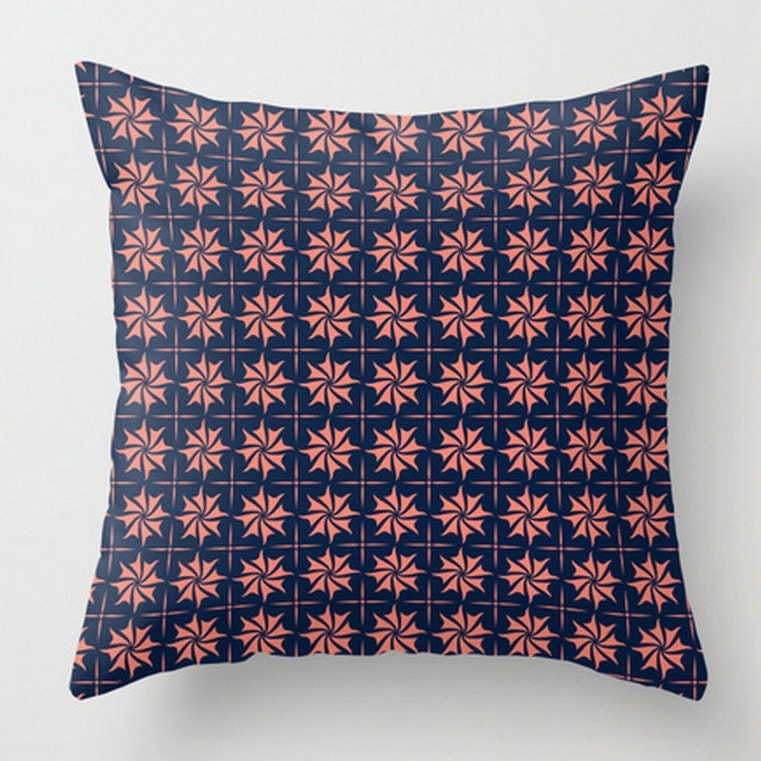 Coral Navy Cushion Check Pattern Throw Pillow Navy
