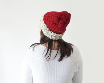 slouchy knit wool red cream christmas beanie, knit chunky two tone unisex santa hat / Poplar / Cranberry & Oatmeal