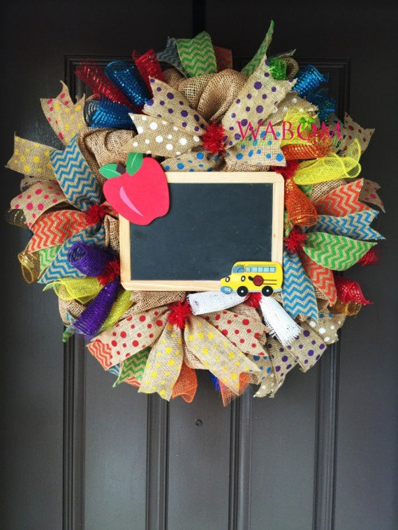 Classroom Decor Stars ~ Teacher wreath deco mesh back to school