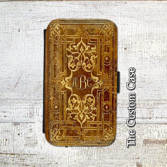 Old Book Case For Iphone : Monogrammed old book leather flip case vintage