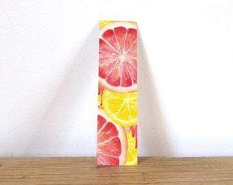 Citrus Bookmark, Card Bookmark, Nature Bookmark, Watercolour Print, Colourful Bookmark, Patterned Bookmark, Grapefruit Print, Lemon Print
