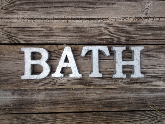 Galvanized metal bath letters 3d hanging bathroom by for Bathroom wall letters
