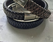 Mens Leather Bracelet  Personalized Leather Bracelet  Gift For Him
