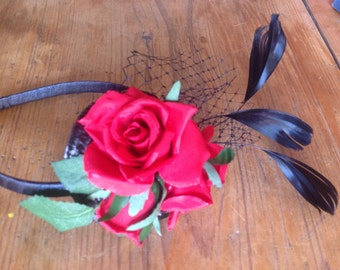 Red and black headband fascinator