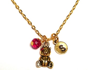 Teddy Bear Necklace, Teddy Bear Jewelry, Teddy Bear Charm, Teddy Bear Pendant, Cute bear Necklace, Bear Necklace, Bear Pendant, Animal Charm