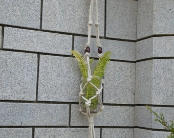 Free shipping - small macrame plant hanger / candle  / bottle holder / rope plant hanger  /small natural plant hanger / simple plant holder