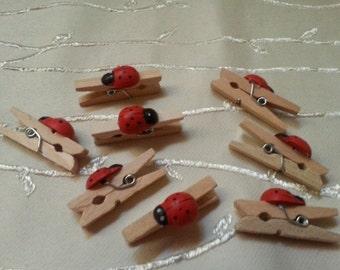 Set of 8 ladybug clothespins . Small Decorative clothespins.