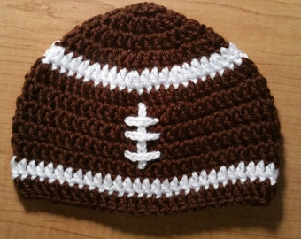 Crochet football baby hat, crochet baby beanie, baby boy beanie, baby girl beanie, football beanie