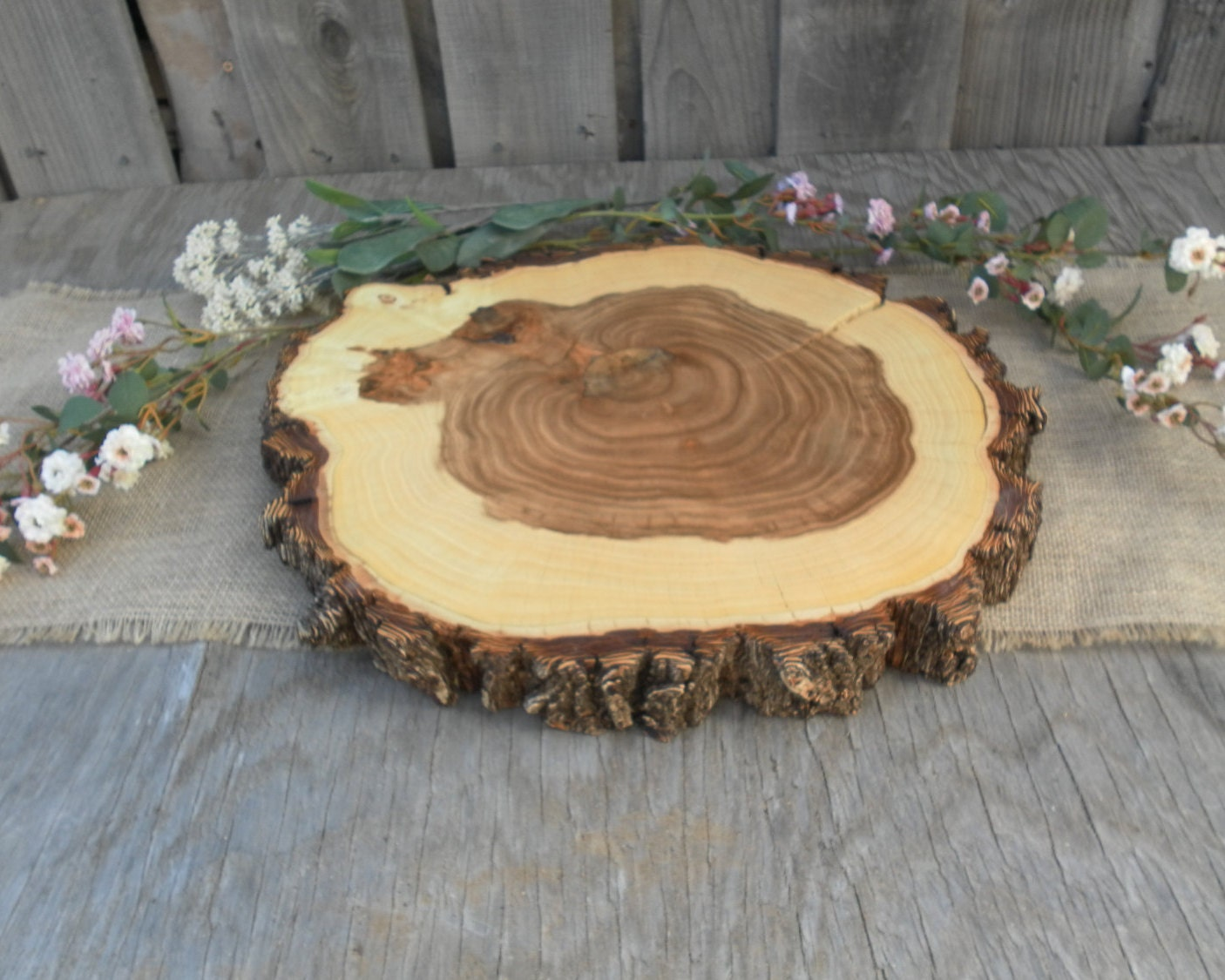Rustic Wedding Wood Cake Stand: 15 Wood Slice Rustic Wedding Cake Stand Large Wood