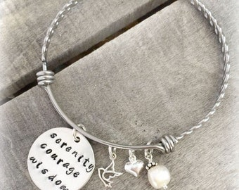 Serenity Prayer Bracelet - Inspirational Jewelry - Recovery Bracelet - Hand Stamped Serenity Prayer Jewelry - Serenity Courage Wisdom