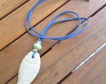Lava rock fish charm necklace, fish necklace, gift for her, beach necklace, summer necklace, beach jewlry, necklace, suede cord necklace