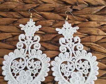 Lace Earrings, Gift for her, Chandalier earrings, Tassel Earrings, Dangle Earrings, handmade, unique stunning wedding earrings, bridal