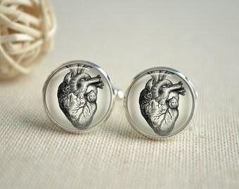 Steampunk Heart Tie Clip,Anatomical Heart Cufflinks, Heart Cuff links, Gift for Men,Wedding cufflinks  (XK038)