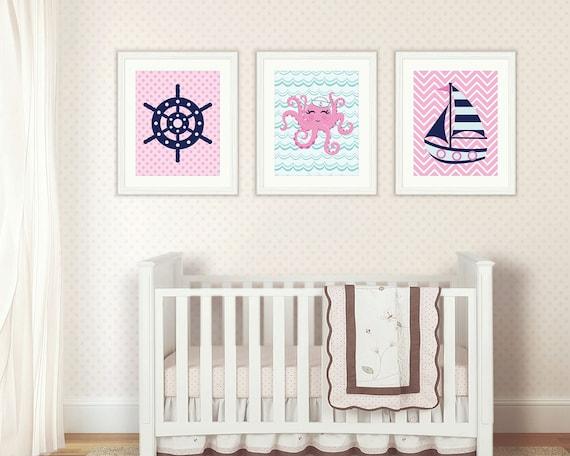 Girls Nautical Nursery: Nursery Art Print Girl Nautical Nursery Wall By NotThatCrunchy