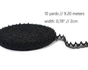 Black Linen Lace Trim, naturelle dentelle de lin, natural linen lace, flax black lace, pure linen lace trim