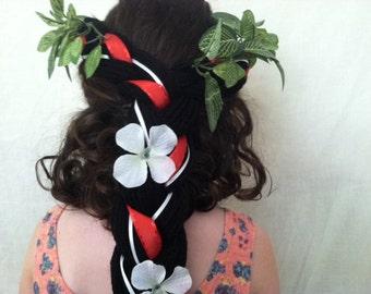 Tropical party, Hawaiian party, Hula dancer, Hawaiian headpiece, Hula girl, Lilo costume, Lilo ears, Lilo dress up, Tropical dress up