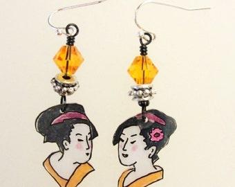Geisha earrings, Geisha jewelry, Japanese jewelry, Japanese earrings, Shrink plastic, Asian earrings, Geisha girl, Gift for her  (#105)