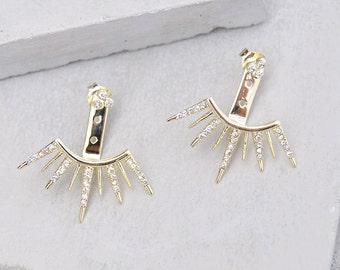 Set of 2, 9 Spike Ear Jackets with CZ - Gold