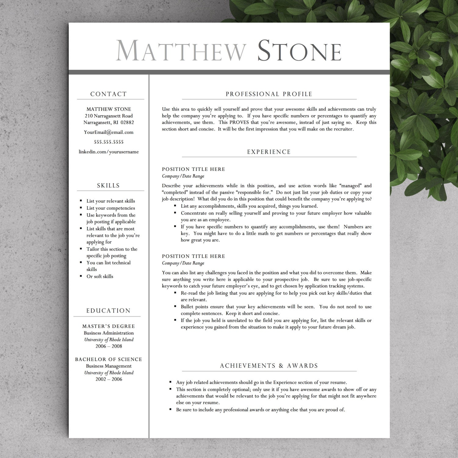 Professional Resume Word Template: Professional Resume Template For Word US By LandedDesignStudio