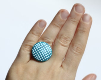 Ocean blue ring Minimal modern ring Casual jewelry Everyday ring Polka dots ring Minimalist rings Contemporary jewelry Gift for her Birthday
