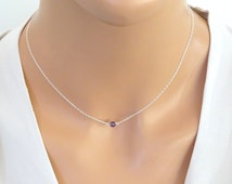 Amethyst necklace, Amethyst birthstone jewelry, Sterling Silver gemstone necklace, Bridesmaid Birthstone necklace