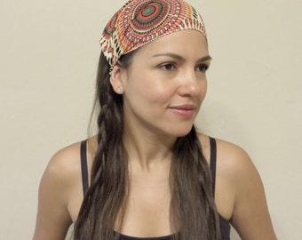 Wide Headband Yoga Headband Bohemian Head Scarf Hippie Headband Gypsy Headband Workout Headband Women Wide HeadWrap Boho Peinted Headband