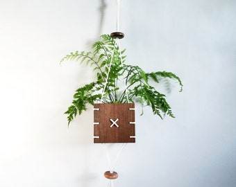 CINCH // Walnut Wood Hanging Planter with White Paracord
