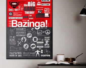 The Big Bang Theory Poster - Geek Wall Decor, Bazinga, Sheldon Cooper Print, TBBT Quotes, Printable Wall Art, Instant Download.