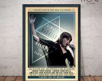 Florence and The Machine Poster - Quote Retro Music Poster - Music Print, Wall Art
