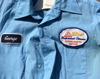 Fillings Dry Cleaners Uniform Work Shirt  15 1/2 Vintage