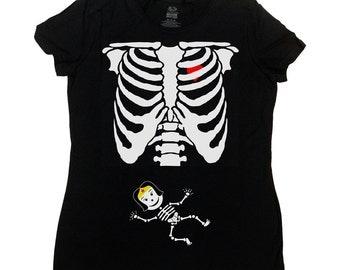 Pregnant Skeleton Shirt Superhero Girl Halloween TShirt Halloween Costume Baby Skeleton Pregnancy Funny T-Shirt Maternity Ladies Tee - SA395