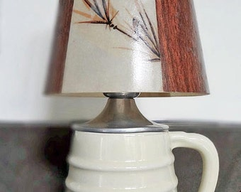 60's? Porcelier Brand Small Table Lamp with Wood Grain Shade