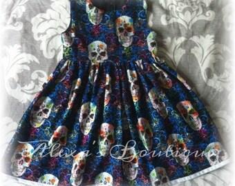 Alternative, skulls dresses, skull dress, day of dead, girls, kids skulls clothes, Flourish, UK, skulls, goth, gothic, babies, toddler