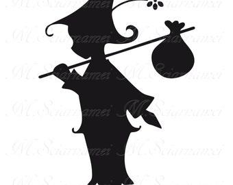 Gnome-Printable-Clip Art-Silhouette-Instant Download-Wall Decor-Scrapbook-Black-Jpeg-PNG-Design-Graphic