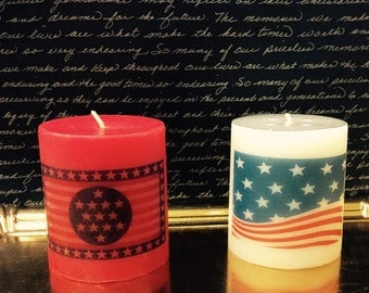 American Flag Scented  Pillar  Candle