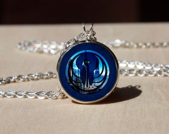 Handmade Necklace, Old Republic Logo Emblem, Glass dome Pendant, gift for Her Him, nekel free jewelry