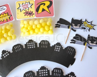 Cupcake Wrappers - Skyline Cupcake Wrappers - Superhero Cupcake Wrappers - Batman Cupcake Wrappers - Cupcake Wrapper - Batman