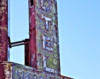 Route 66 Sierra Vista Motel Sign Neon Sign Sign Typography Retro Wall Art Googie Art Mid Century Modern Wall Art Home Decor Rustic Sign Art
