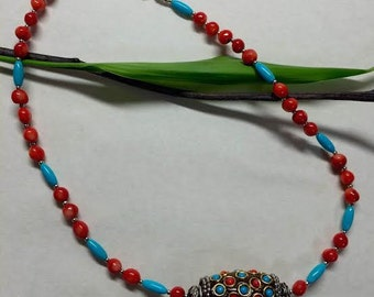 Bali Clay Center Bead, Bamboo Coral, Turquoise, and Sterling Silver Necklace