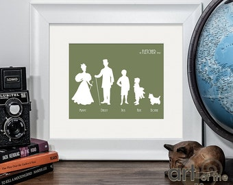 Personalised Victorian Style Family Names and Silhouettes Print - Custom made artwork, perfect as a unique xmas gift for friends and family