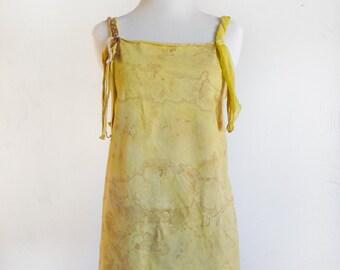 Hand Dyed Shibori Top - Orange Freedom Shirt - Altered - Upcycled - Recycled - Eco Friendly Clothing - Festival - Hippie - Gypsy - Size S